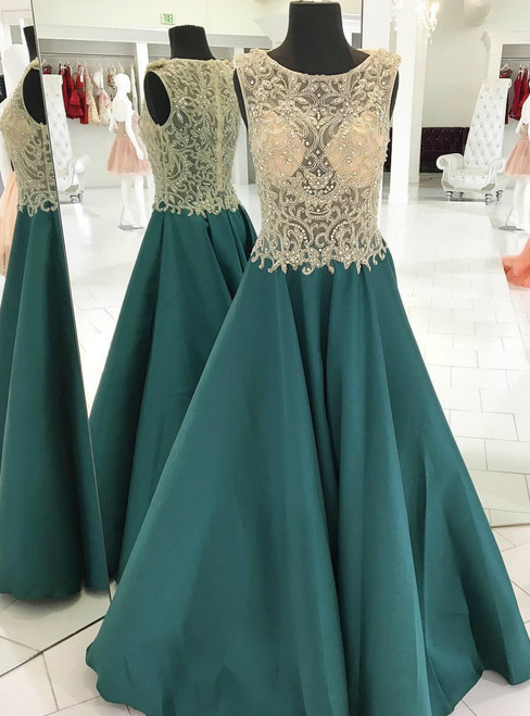A-Line Green Satin See Through Top Beading Long Prom Dress
