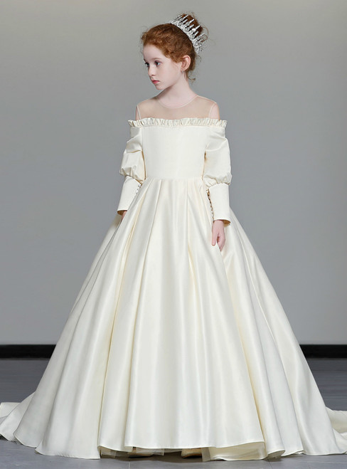In Stock:Ship in 48 Hours Ball Gown Satin Long Sleeve Cold Shoulder Girl Dress