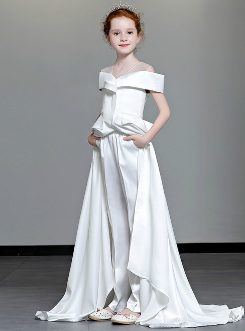 In Stock:Ship in 48 Hours White Two Piece Satin Dress And Pants Suits