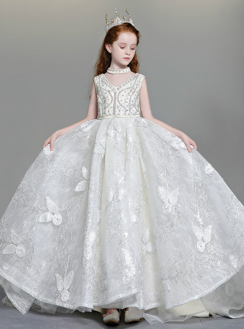 In Stock:Ship in 48 Hours White Ball Gown V-neck Backless Lace Flower Girl Dress With Crystal