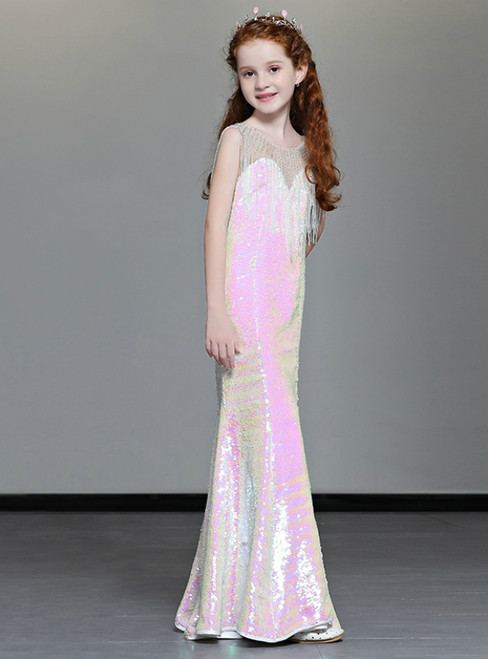 In Stock:Ship in 48 Hours Pink mermaid Sequins Flower Girl Dress