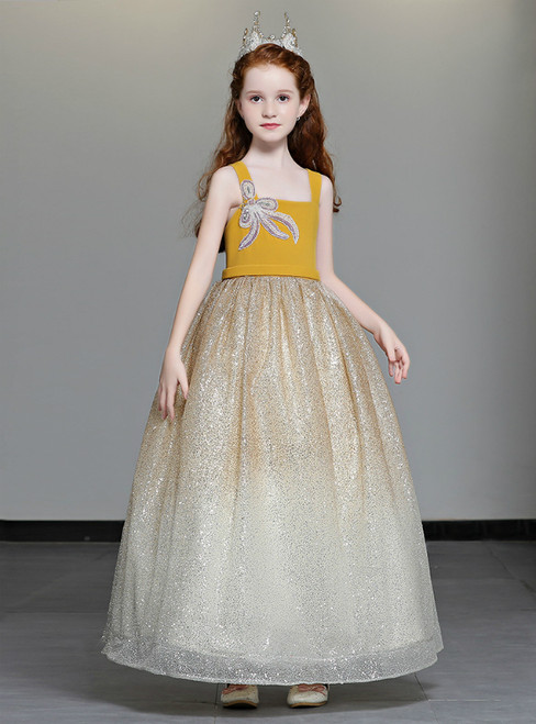 In Stock:Ship in 48 Hours Champagne Tulle Sequins Straps Flower Girl Dress