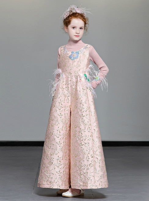 In Stock:Ship in 48 Hours Pink Two Piece Sequins Flower Girl Dress With Pocket