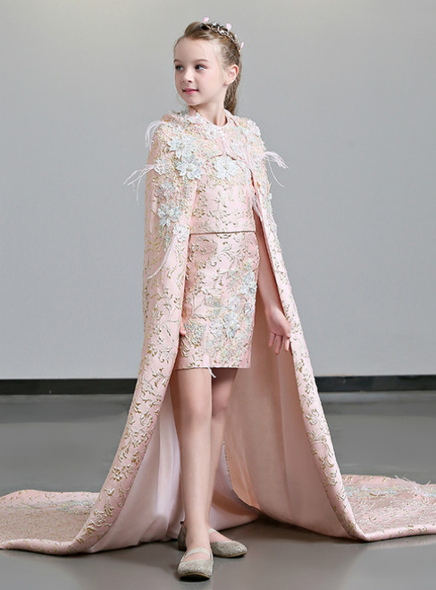In Stock:Ship in 48 Hours Pink Two Piece Flower Girl Dress With Cloak