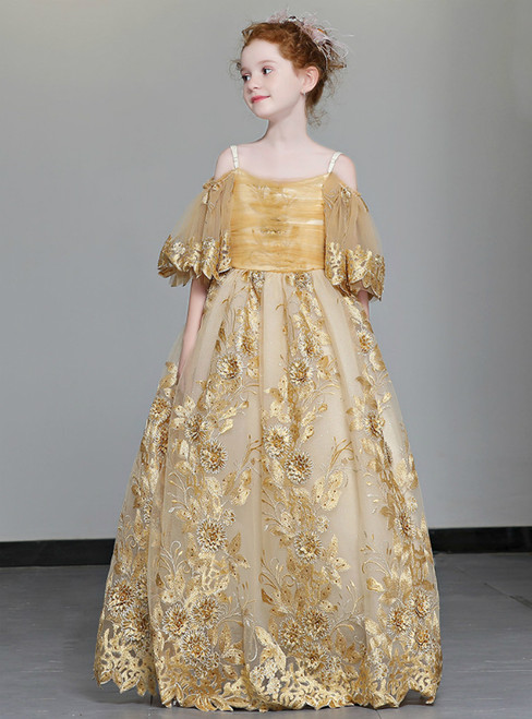 In Stock:Ship in 48 Hours Yellow Tulle Lace Spaghetti Straps Girl Dress