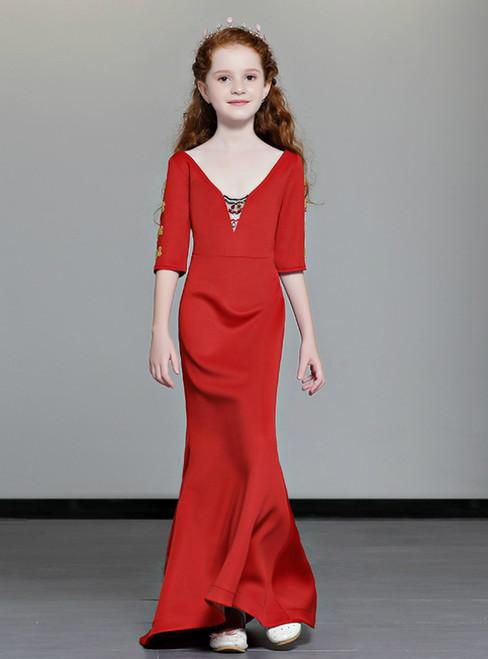 In Stock:Ship in 48 Hours Red Mermaid V-neck Short Sleeve Flower Girl Dress