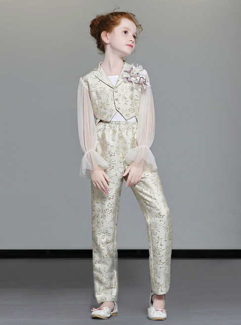 In Stock:Ship in 48 Hours Gold Two Piece Sequins Suits Girl Clother