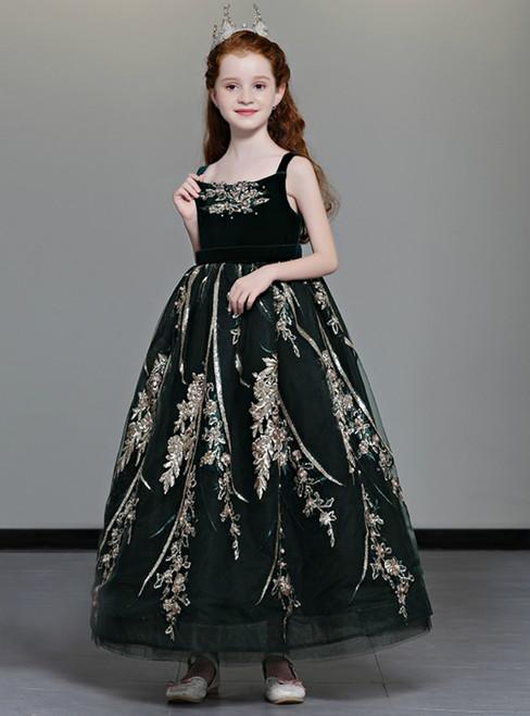 In Stock:Ship in 48 Hours Dark Green Velvet Sequins Appliques Flower Girl Dress