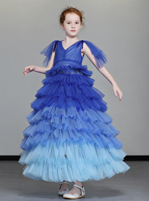 In Stock:Ship in 48 Hours Blue Tulle V-neck Flower Girl Dress With Beading