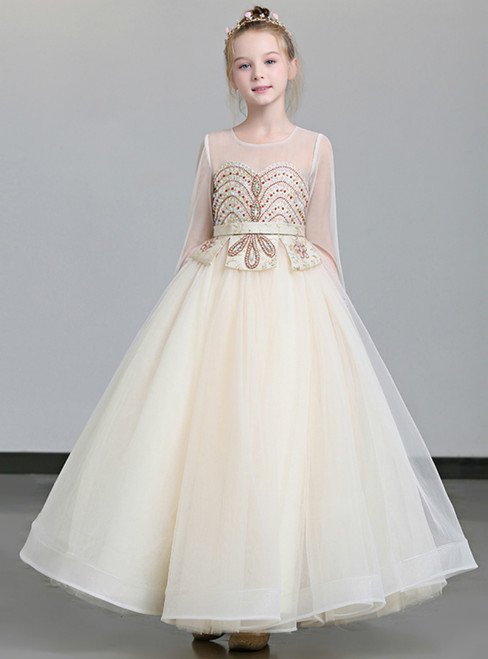 In Stock:Ship in 48 Hours Champagne Tulle Long SLeeve Flower Girl Dress