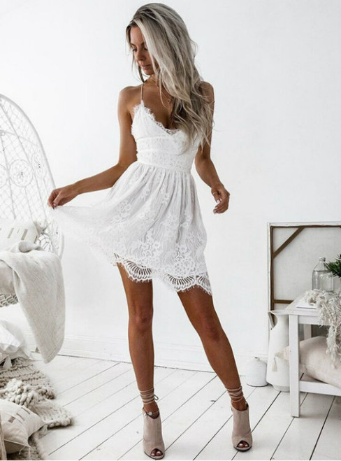 Stylish A-Line Spaghetti Straps Backless White Short Homecoming Dress With Lace