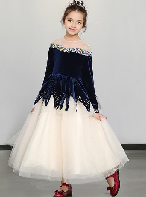 In Stock:Ship in 48 Hours Blue Velvet Tulle Long Sleeve Girl Dress With Crystal