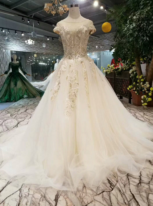 Ivory Ball Gown Tulle Bateau Cap Sleeve Backless Wedding Dress With Beading