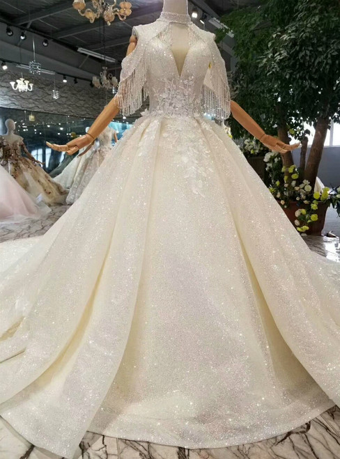 Champagne Ball Gown Deep V-neck Backless Tulle Sequins Appliques Wedding Dress