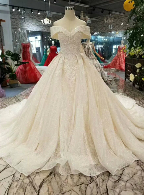 0060ba65f Champagne Ball Gown Tulle Sequins Off The Shoulder Wedding Dress With Removable  Train