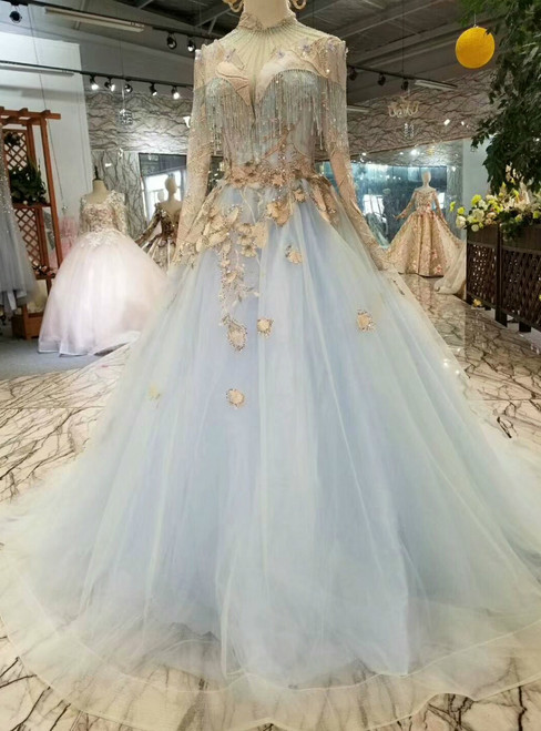 Blue Ball Gown Tulle High Neck Long Sleeve Appliques Wedding Dress