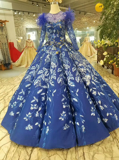 Blue Ball Gown Lace Scoop Long Sleeve Wedding Dress With Feather