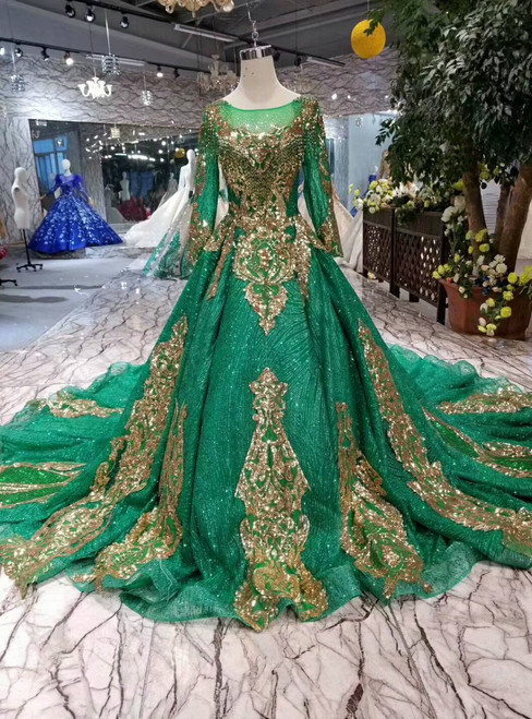 Emerald Green Ball Gown Tulle Sequins Appliques Long Sleeve Wedding Dress With Train