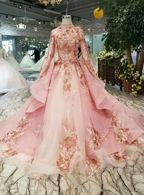 Pink Ball Gown High Neck Long Sleeve Appliques Beading Wedding Dress