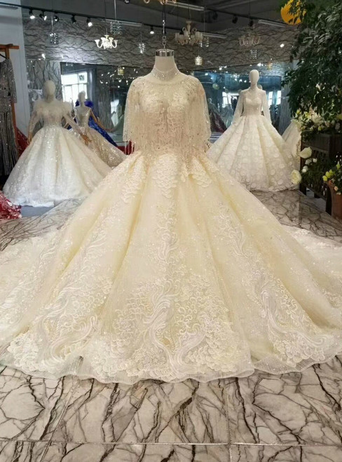 Champagne Ball Gown Tulle Sequins Appliques Backless Wedding Dress With Train