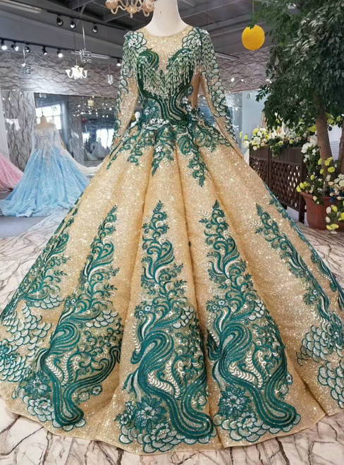 Gold Ball Gown Sequins Green Lace Appliques Long Sleeve Wedding Dress