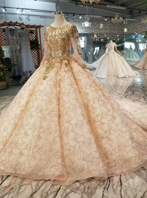 Champagne Tulle Gold Sequins Long Sleeve Wedding Dress With Train