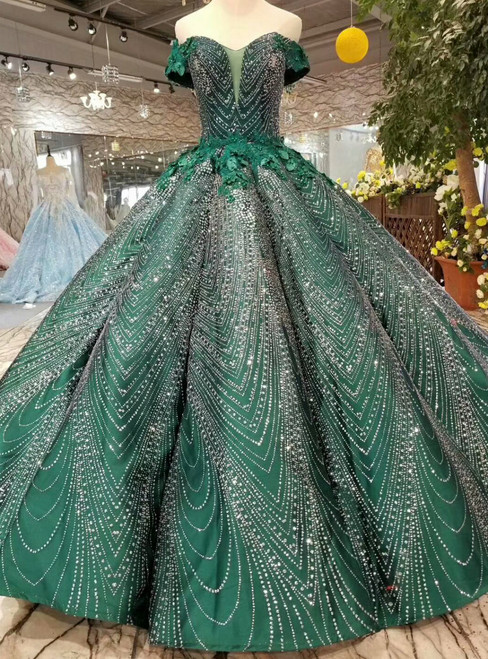 Dark Green Ball Gown Sequins Off The Shoulder Appliques Wedding Dress
