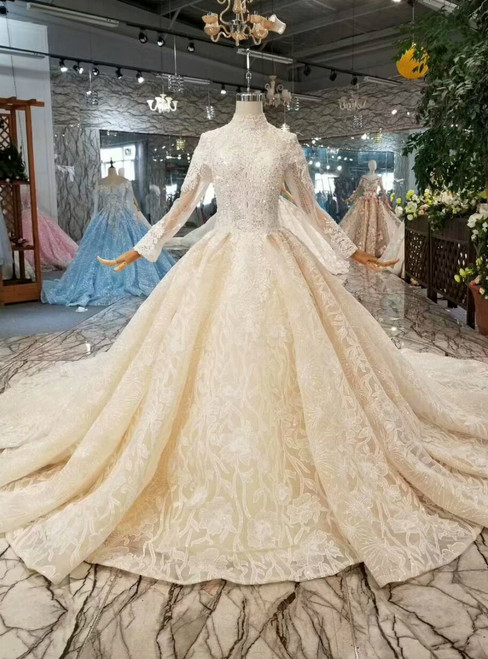 Chamapgne Ball Gown Tulle Lace High Neck Long Sleeve Wedding Dress