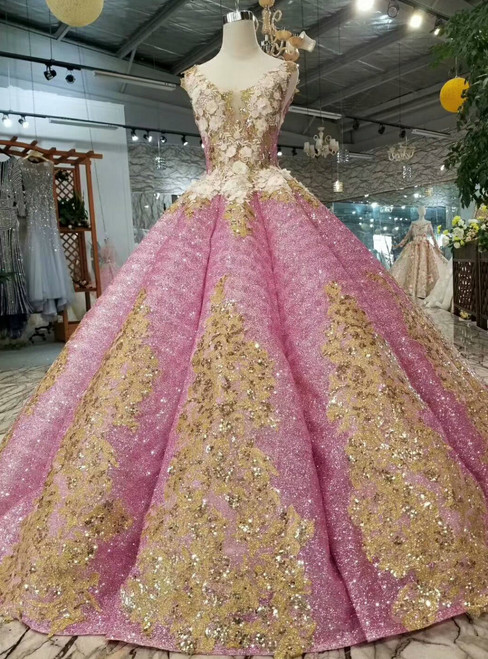 Pink Ball Gown Sequins Deep V-neck Backless Appliques Wedding Dress