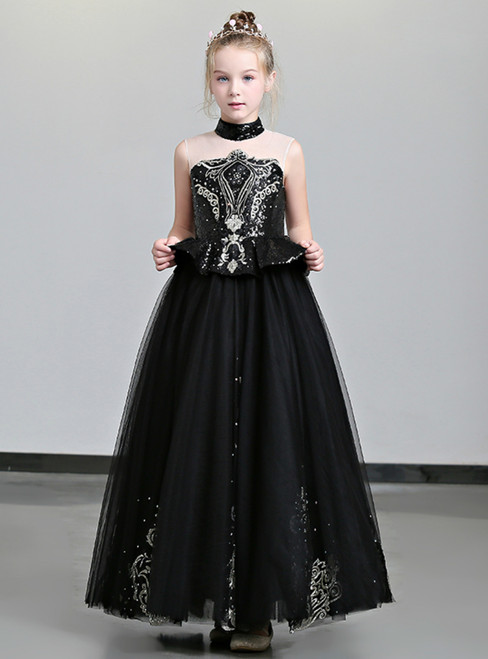 In Stock:Ship in 48 Hours Black Tulle High Neck Appliques Flower Girl Dress