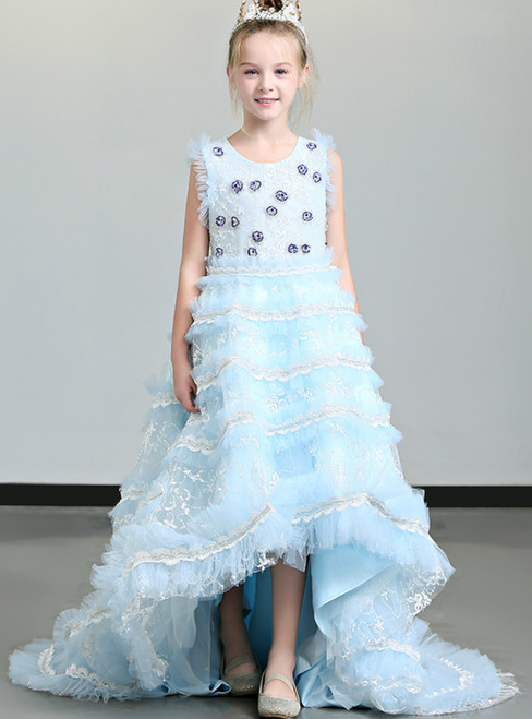 In Stock:Ship in 48 Blue Hi Lo Tulle Lace Appliques Flower Girl Dress