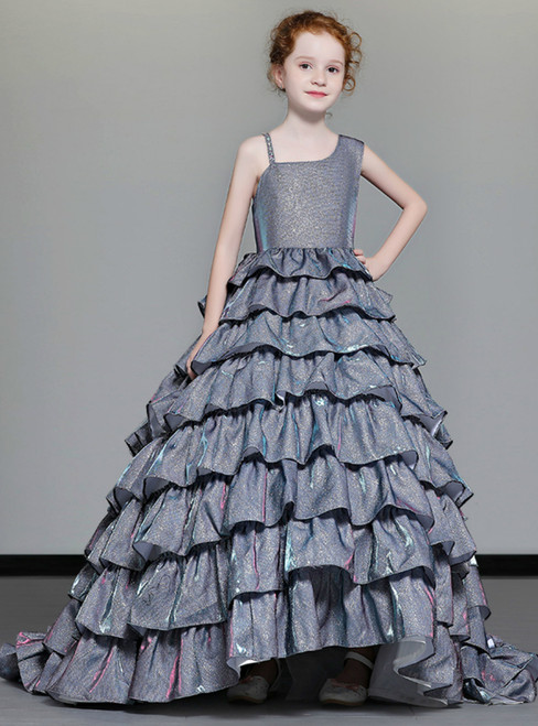 b1acaeaa6 In Stock:Ship in 48 Hours Gray Ball Gown Tulle Bling Bling Flower Girl Dress