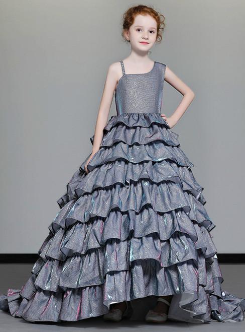 In Stock:Ship in 48 Hours Gray Ball Gown Tulle Bling Bling Flower Girl Dress