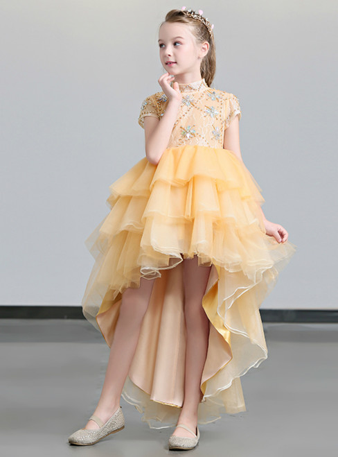 In Stock:Ship in 48 Hours High Neck Hi Lo Orange Tulle Flower Girl Dress With Crystal