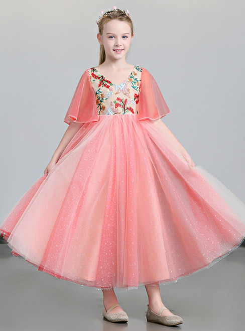 In Stock:Ship in 48 Hours Pink Tulle V-neck Embroidery Flower Girl Dress