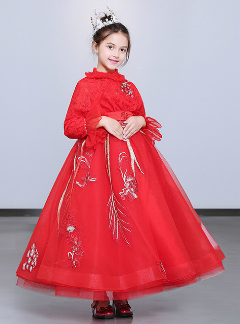b59ec93e2 In Stock:Ship in 48 Hours Red Long Sleeve Tulle Lace Flower Girl Dress