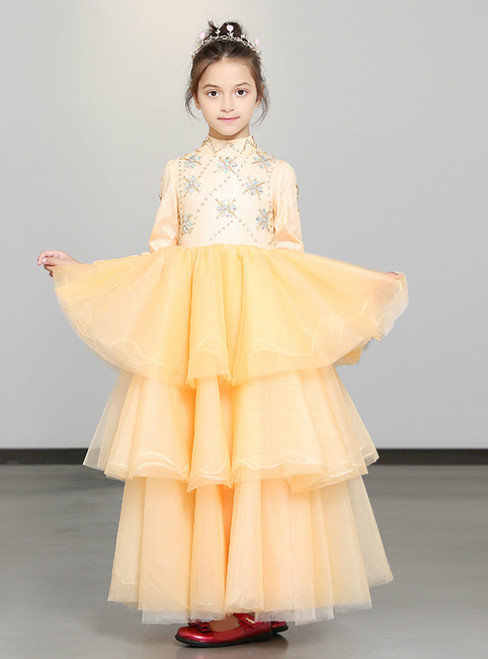 In Stock:Ship in 48 Hours Champagne Tulle High Neck Long Sleeve Girl Dress