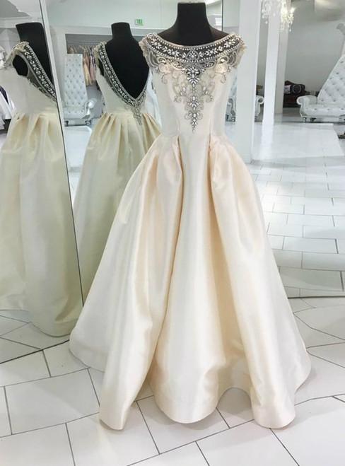 A-Line Bateau Backless Ivory Satin Beading Long Prom Dress