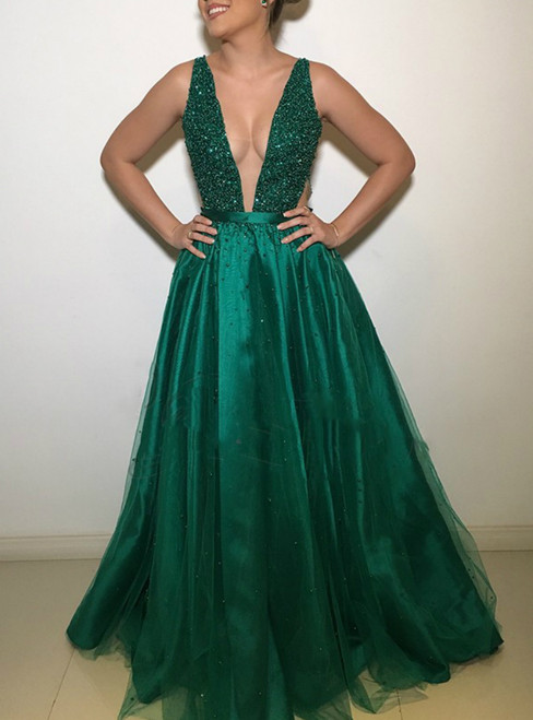 Dark Green Deep V-Neck Open Back Tulle Backless Beaded Rhinestone Formal Dress