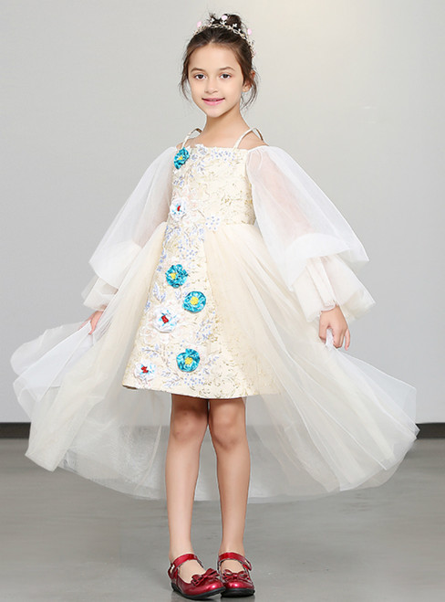 e8505122c In Stock:Ship in 48 Hours White Tulle Spaghetti Straps Puff Sleeve Flower  Girl Dress