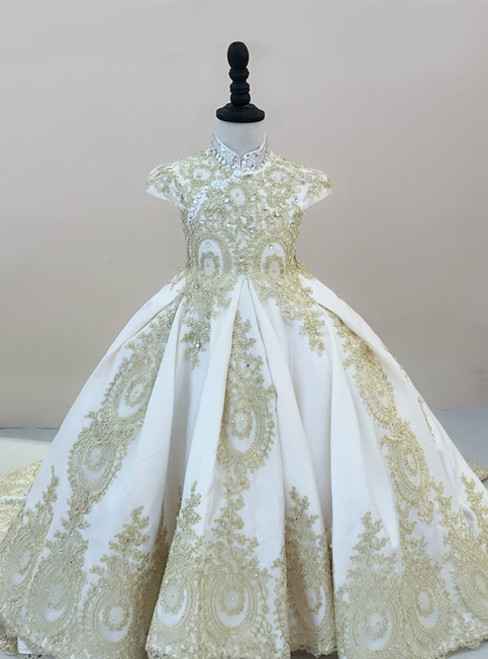 Ball Gown Satin And Lace Appliques High Neck Cap Sleeve Flower Girl Dress