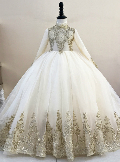 Champagne Ball Gown Tulle Sequins High Neck Long Sleeve Flower Girl Dress