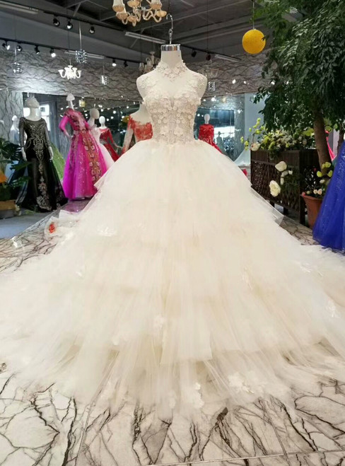 Champagne Ball Gown Tulle High Neck Backless Appliques Wedding Dress