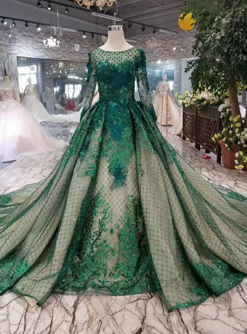 Green Ball Gown Tulle Sequins Bateau Long Sleeve Appliques Wedding Dress