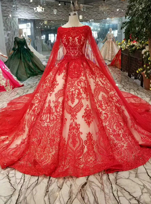 Red Ball Gown Lace Tulle Sequins Bateau See Through Back Wedding Dress