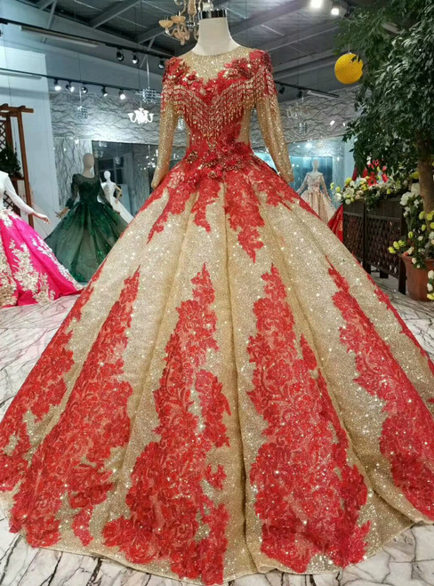 Gold Ball Gown Sequins Red Lace Appliques Long Sleeve Wedding Dress With Beading