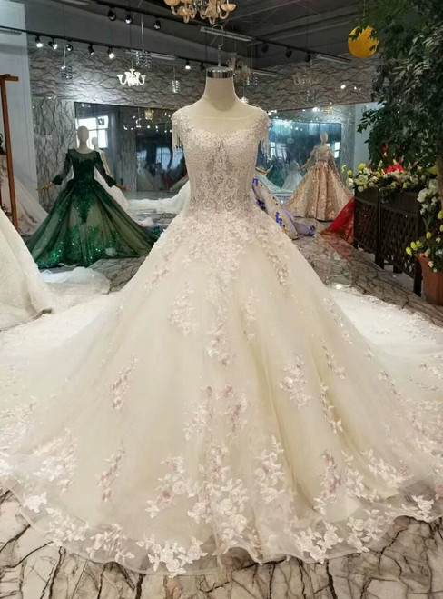 Light Champagne Ball Gown Tulle Lace Appliques Wedding Dress With Train