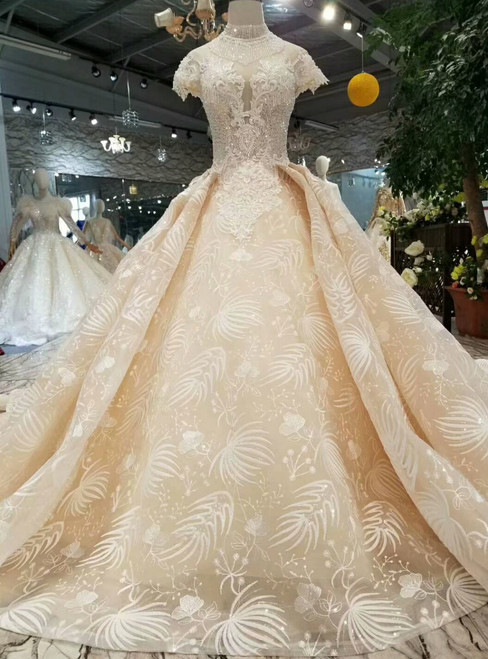 Champagne Ball Gown Lace High Neck Backless Cap Sleeve Wedding Dress With Beading