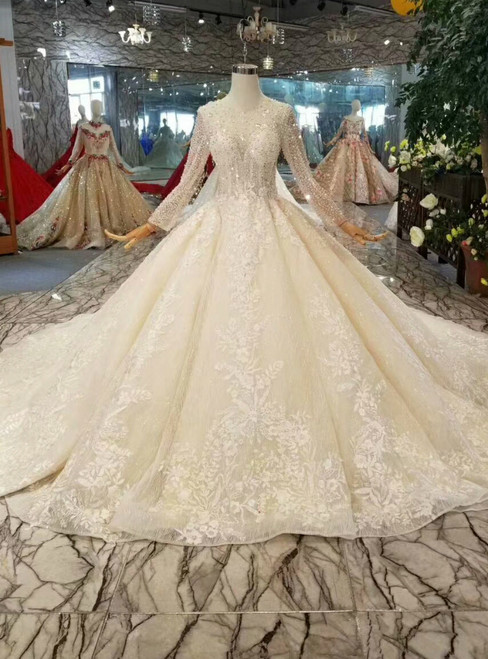 Champagne Ball Gown Tulle Sequins Long Sleeve Appliques Beading Wedding Dress