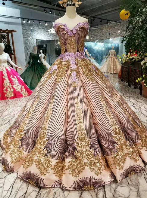 Purple Ball Gown Sequins Appliques Gold Sequins Appliques Off The Shoulder Wedding Dress